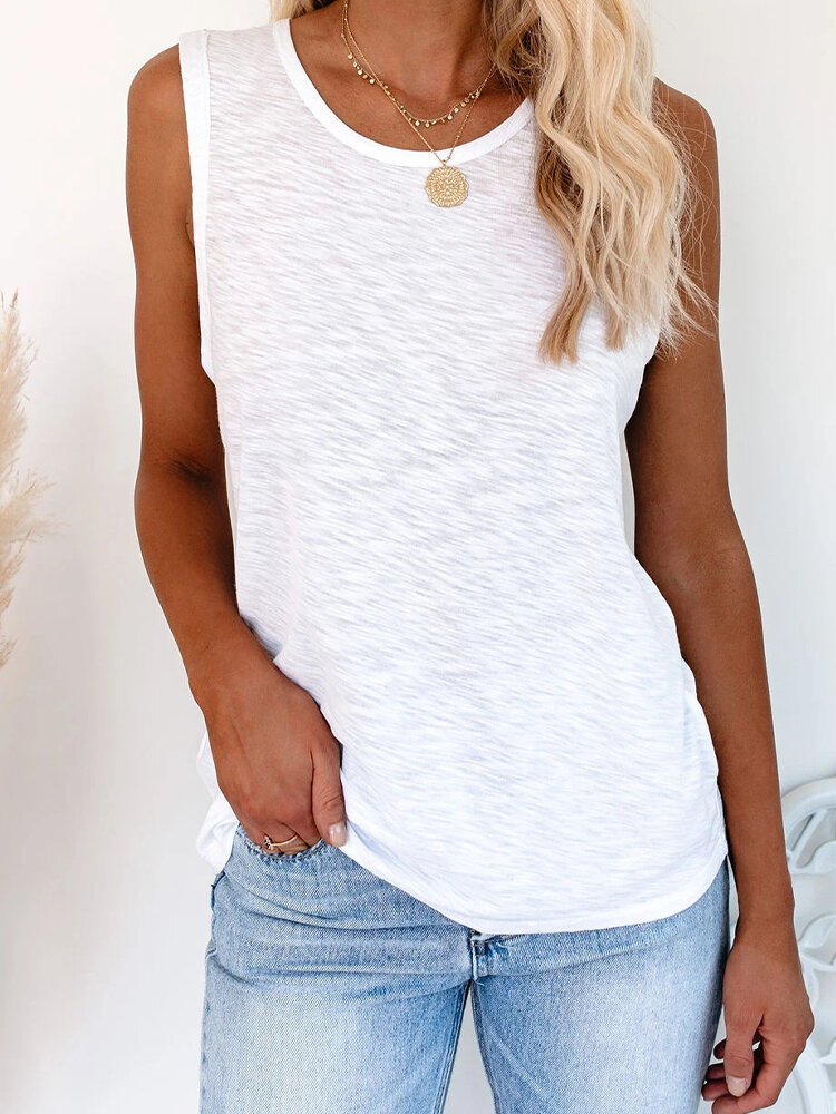 Solid Color O-neck Casual Tank Top for Women