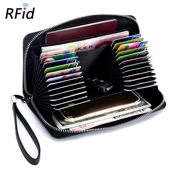 RFID Men And Women Genuine Leather 24 Card Slot Wallet Multifunction Passport Purse