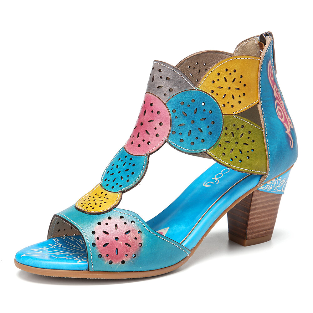 SOCOFY Bohemian Leather Cutout Breathable Comfy Open Toe Block Heel Casual Heeled Sandals