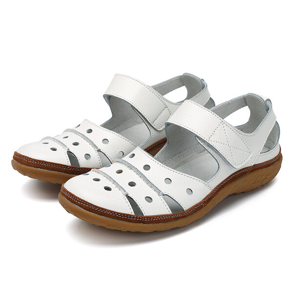 12ec7f32229a Leather Hollow Out Hook Loop Casual Flat Sandals For Women