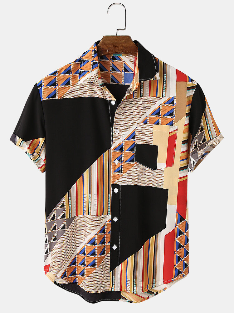 Mens Designed Colorblock Stripe Print Casual Shirt