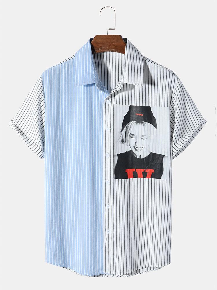 Mens 100% Cotton Celebrity Photos Print Striped Patchwork Short Sleeve Shirt