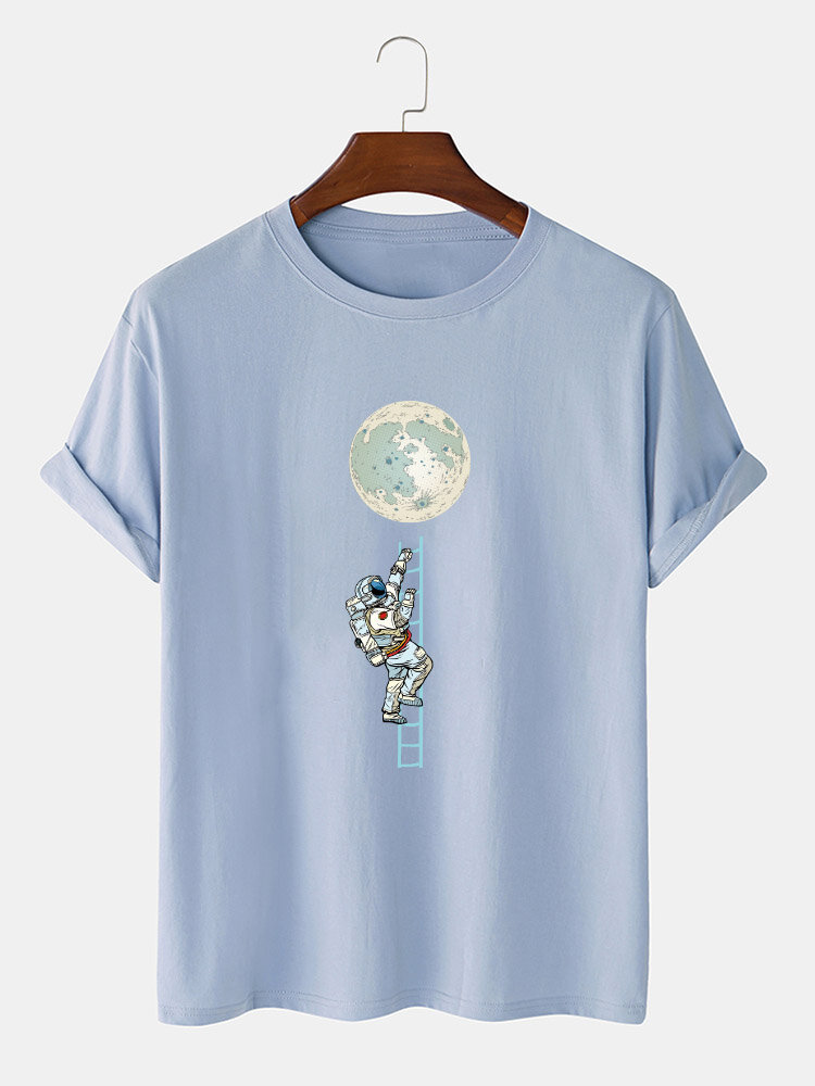 Mens Astronaut Moon Print 100% Cotton Casual Short Sleeve T-Shirts