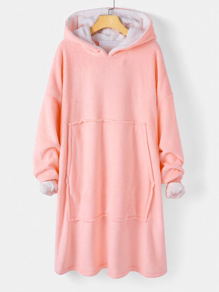 Women Flannel Warm Comfy Robe Oversized Wearable Blanket Hoodie Sweatshirt With Front Large Pocket
