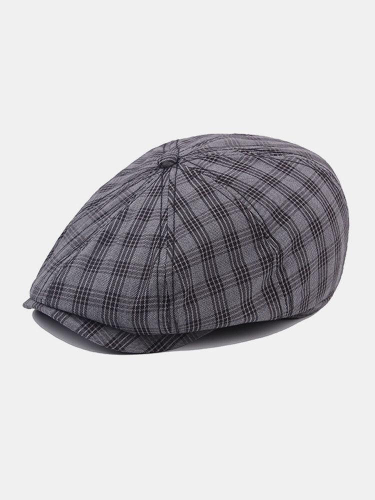 Men Women Cotton British Style Octagonal Beret Hats Grid Casual Vintage Painter Forward Caps
