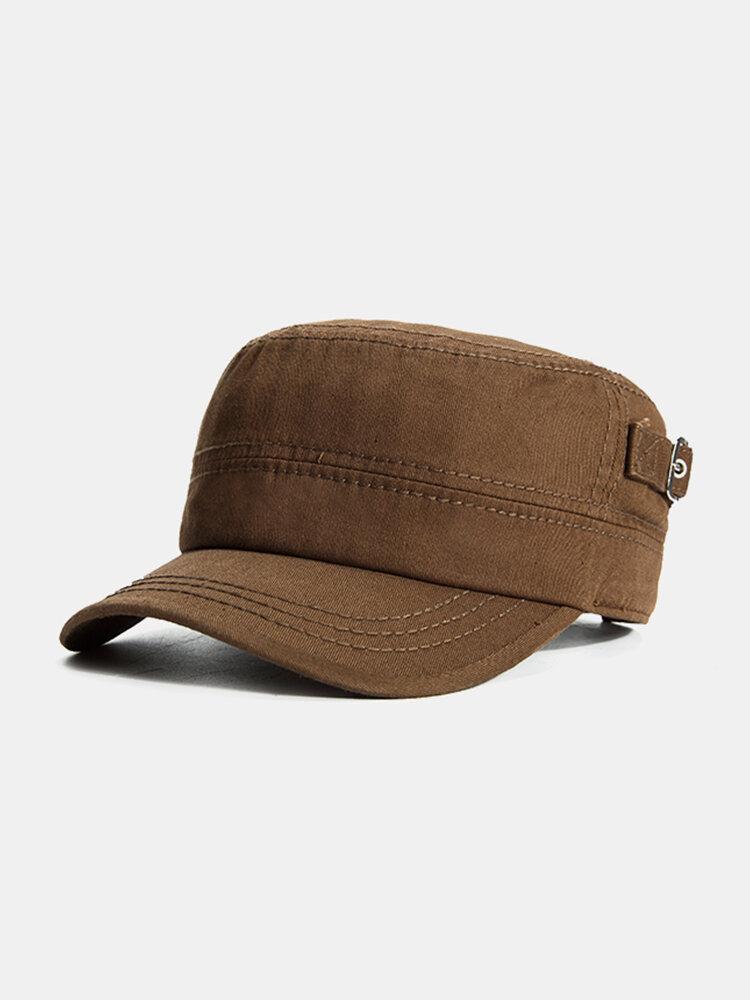 Men Retro Casual Sunscreen Cotton Military Hat Outdoor Sport Solid Color Flat Cap
