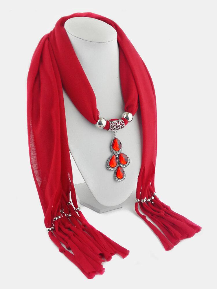 Vintage Women Scarf Necklace Solid Color Leaf Pendant Shawl Necklace