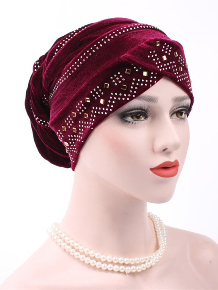 Women Gold Velour With Diamond Stretch Turban Hat Casual Warm Solid Beanie Cap