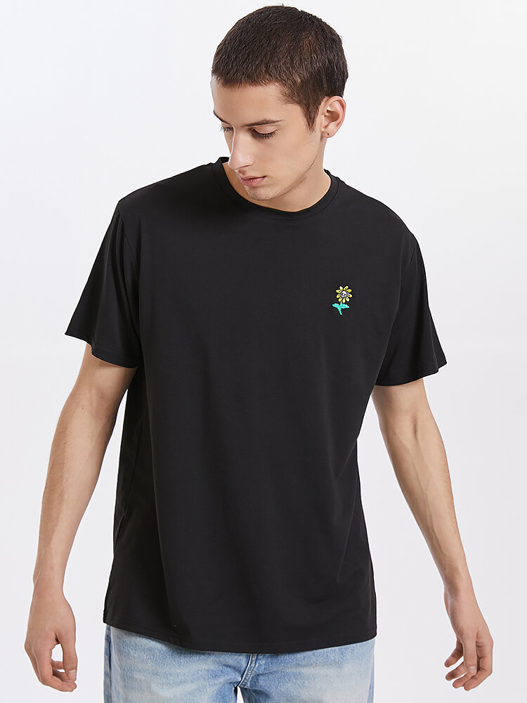 Mens Sunflower Chest Embroidery Cotton Casual Short Sleeve Black T-Shirts