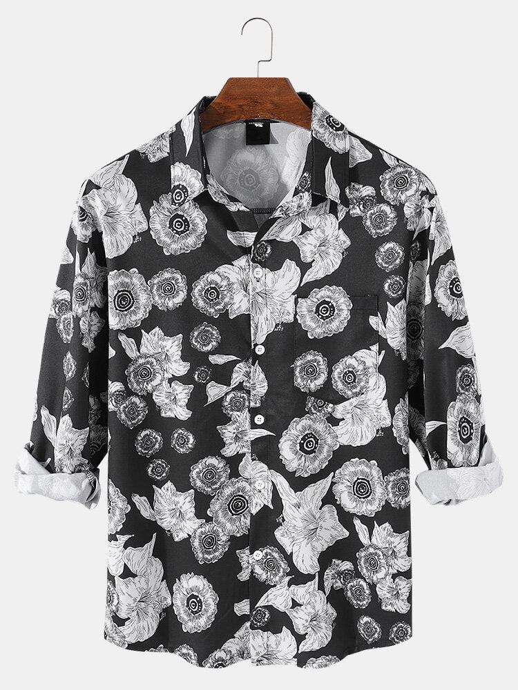 Mens Vintage Floral Print Lapel Button Up Casual Long Sleeve Shirts