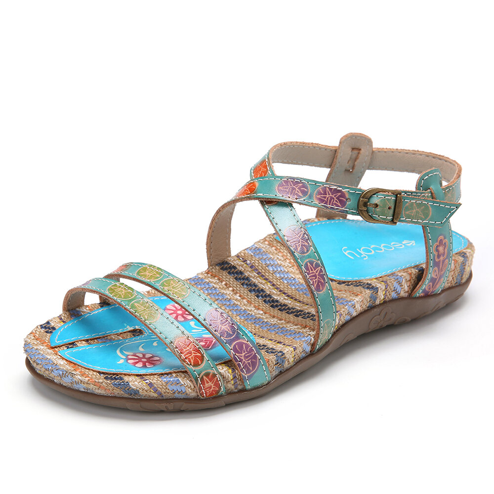 Bohomia Leather Floral Pattern Splicing Buckle Ankle-wrap Strap Flat Sandals