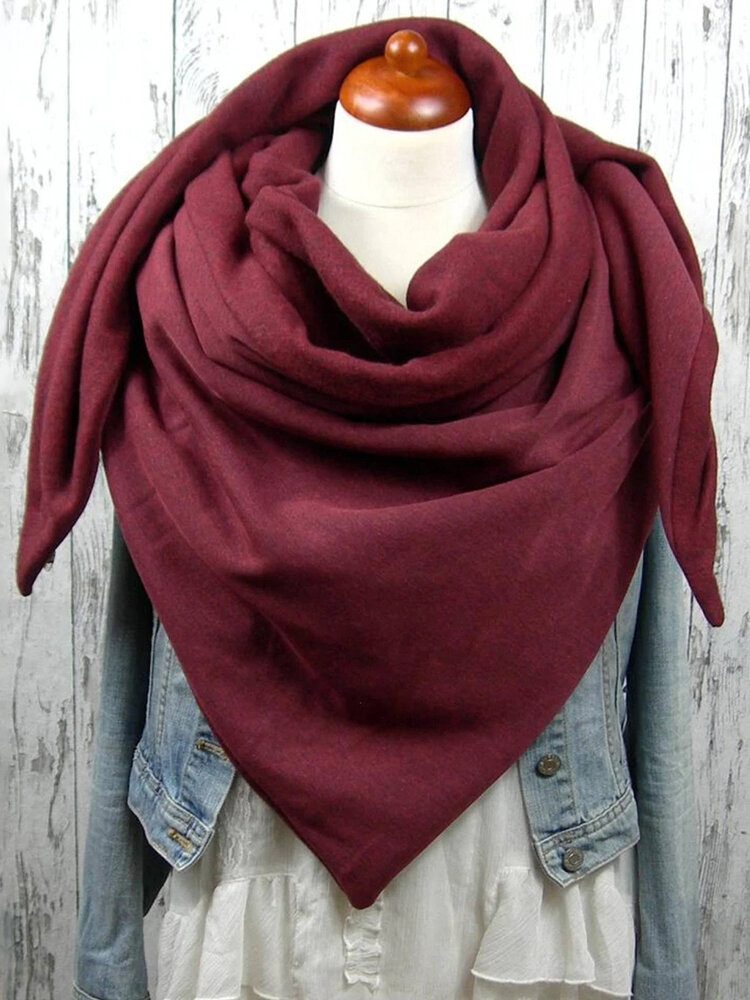 Women Solid Color Scarf Shawl Wrap Versatile Thick Warmth Shawl Scarf