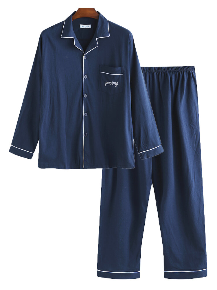 Men Luxury Plain Cotton Pajamas Set Buttons Down Long Sleeve Loungewear With Pockets