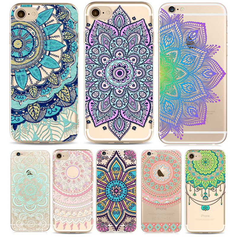 quality design 5ff82 c8fd8 Mandala Soft TPU Phone Cases For iphone 7 Plus 6 6s 5 Creative Mobile Phone  Protective Cover