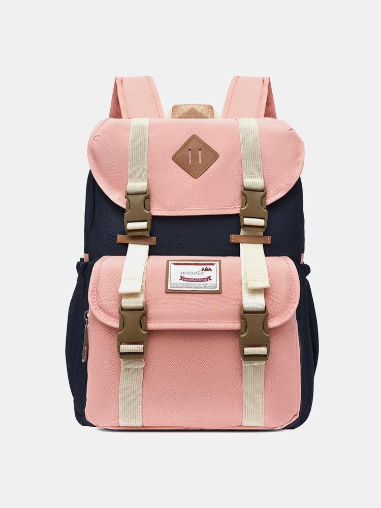 Women Waterproof Patchwork Large Capacity Travel Backpack School Bag
