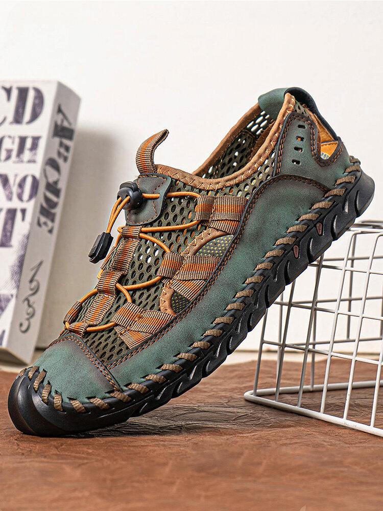 Men Closed Toe Mesh Splicing Outdoor Microfiber Leather Sandals