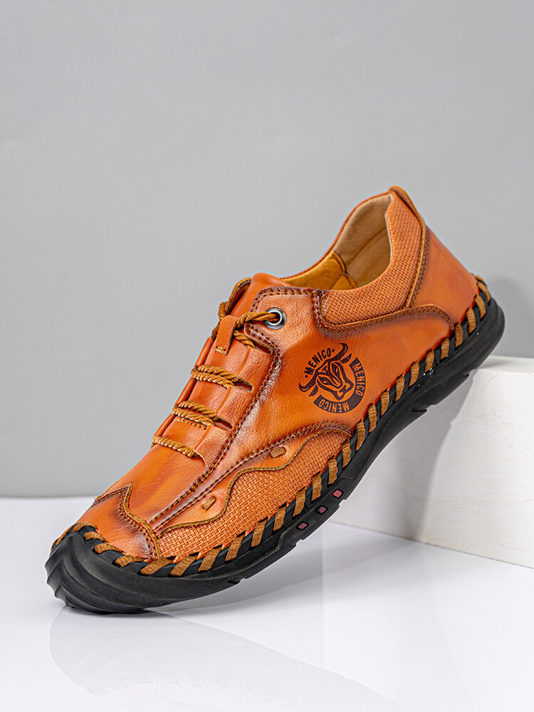 Menico Men British Style Comfy Microfiber Leather Slip Resistant Hand Stitching Casual Shoes