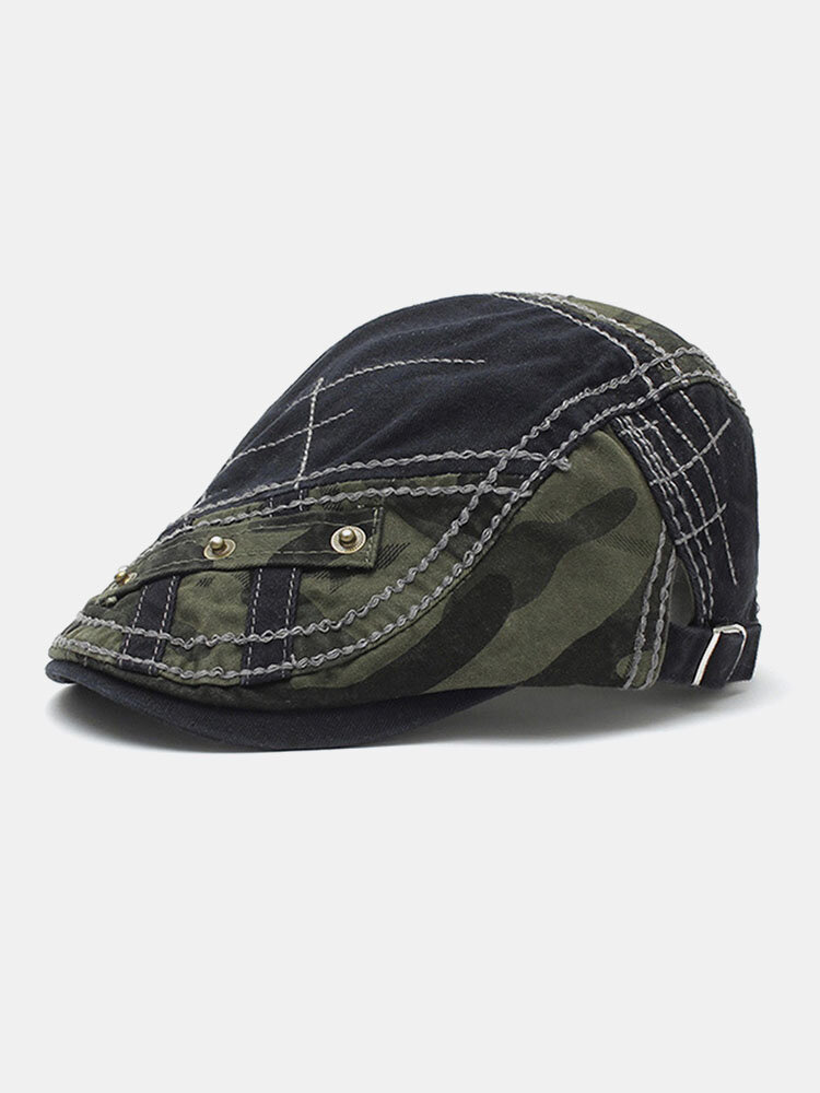 Men Cotton Patchwork Camouflage Pattern Metal Buckle Cloth Stickers Casual Berets