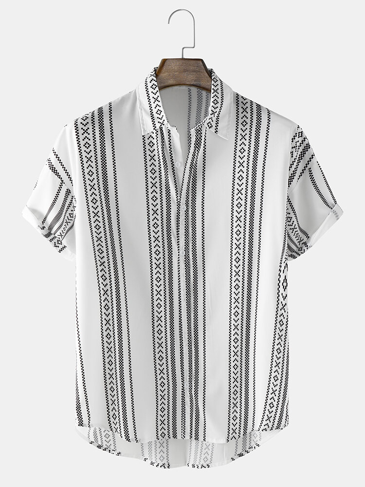 Mens Striped Geo Print High Low Ethnic Style Short Sleeve Shirts