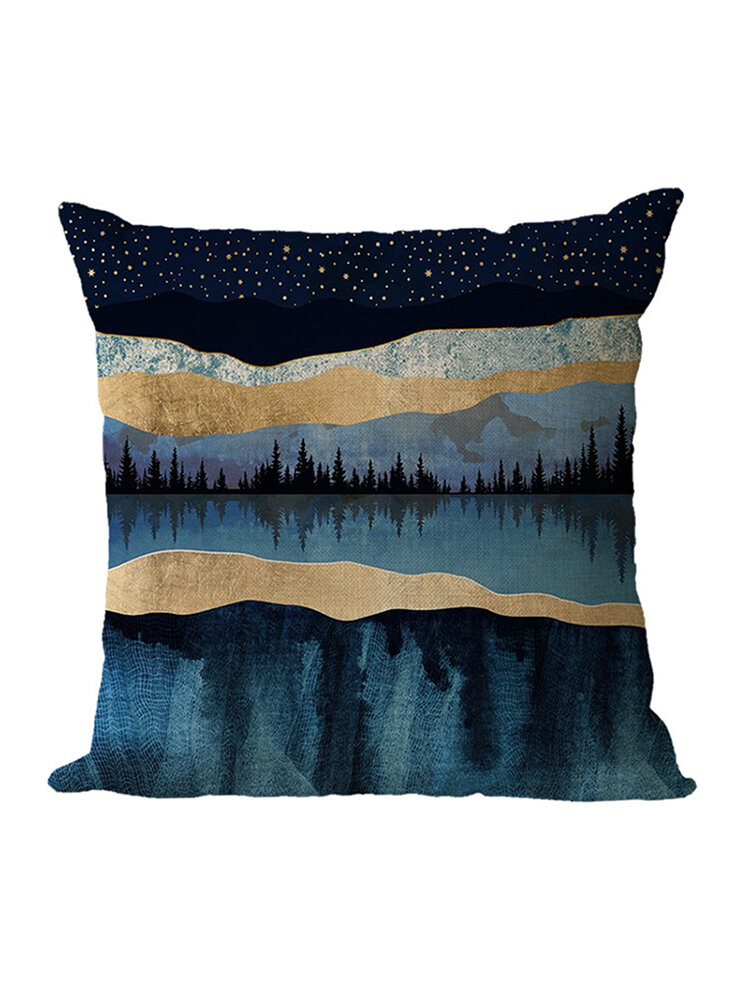 Modern Forest Abstract Landscape Linen Cushion Cover Home Sofa Throw Pillowcases Home Decor