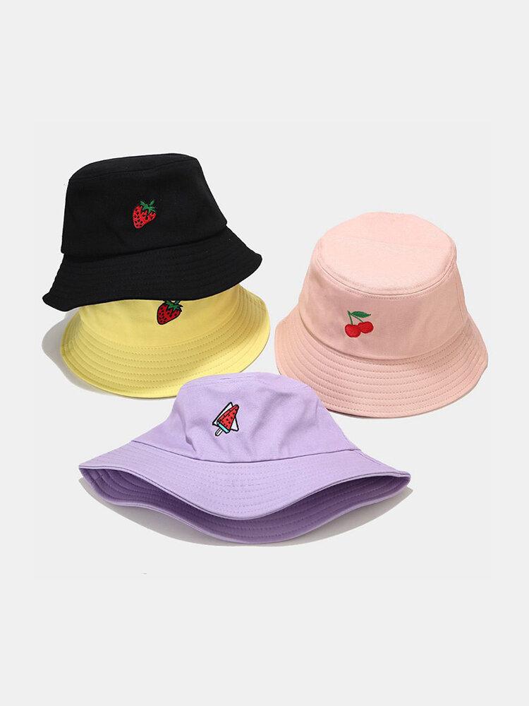 Women & Men Cotton Fruit Embroidery Bucket Hat