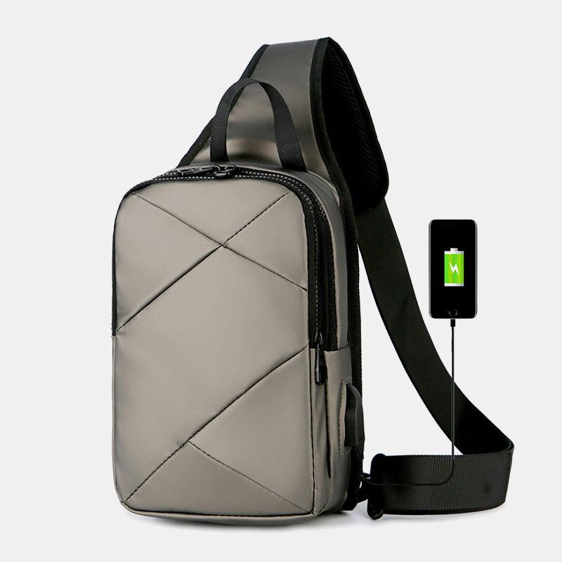 Men Oxford Waterproof Business USB Charging Shoulder Bag Crossbody Bag Chest Bag Sling Bag