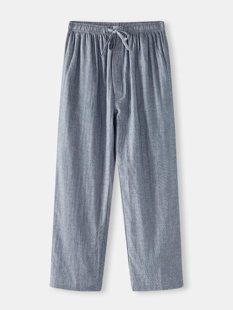 Coton confortable couleur unie Homewear Bas poches pantalon de pyjama à cordons - Newchic - Modalova