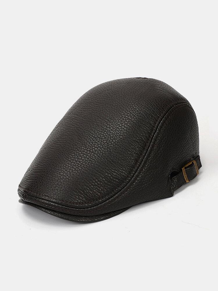 Men Faux Leather Keep Warm Solid Color Flat Cap Retro Casual Forward Hat Beret Hat