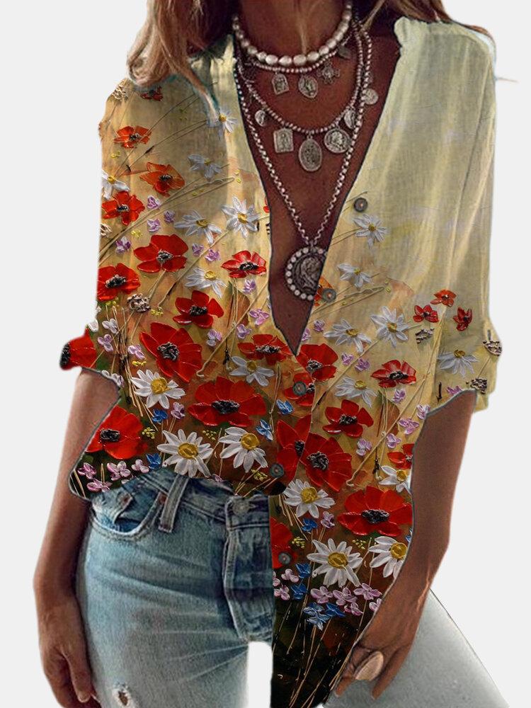 Chemise vintage à manches longues à imprimé fleur marguerite - Newchic - Modalova