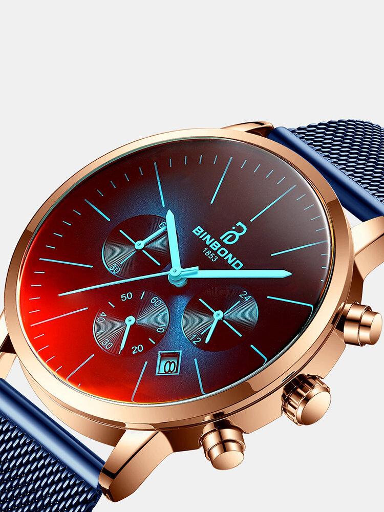 Luxury 30 Meters Waterproof Clock Male Casual Mesh Belt Quartz Watch