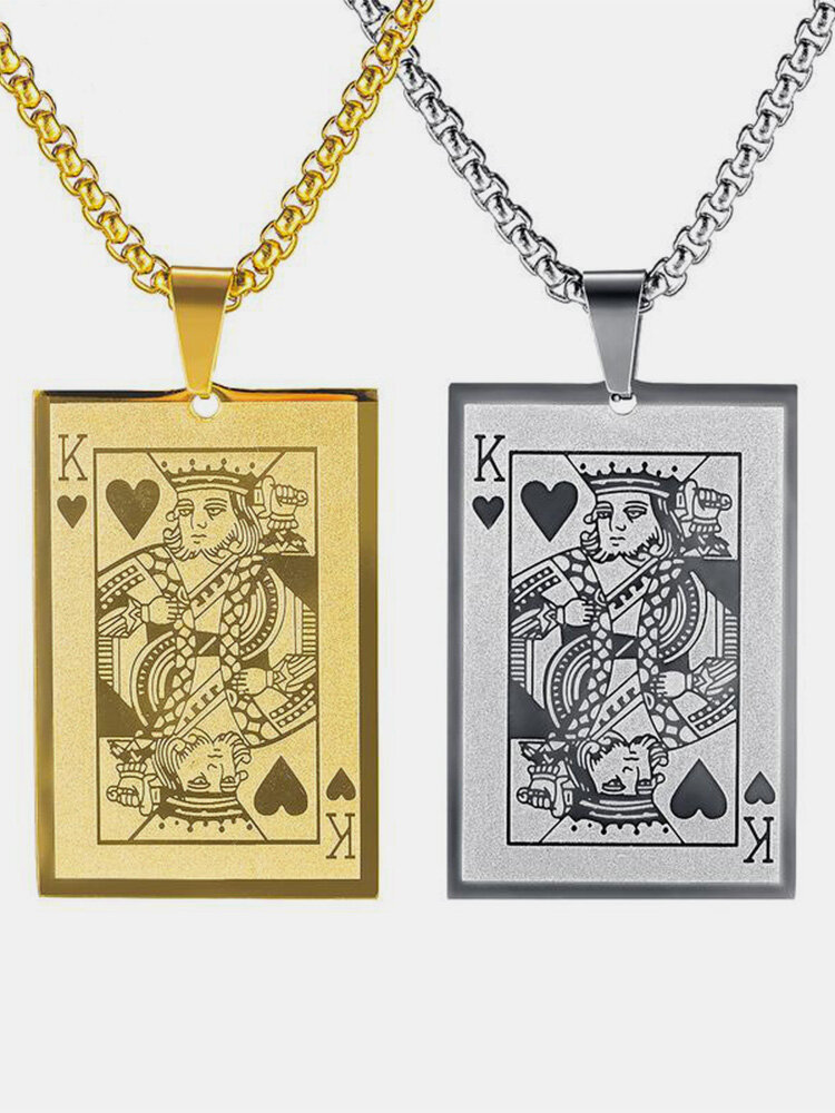 Trendy Stylish Poke Playing Card Stainless Steel Alloy Necklace Pandent
