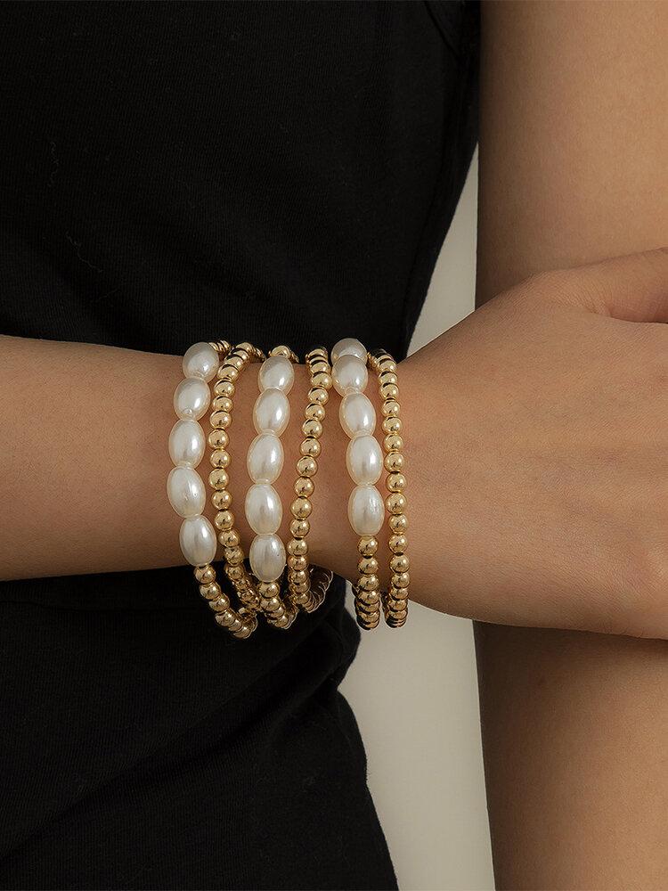Vintage Brief Geometric Round Bead Shape CCB Artificial Pearls Bracelets Set