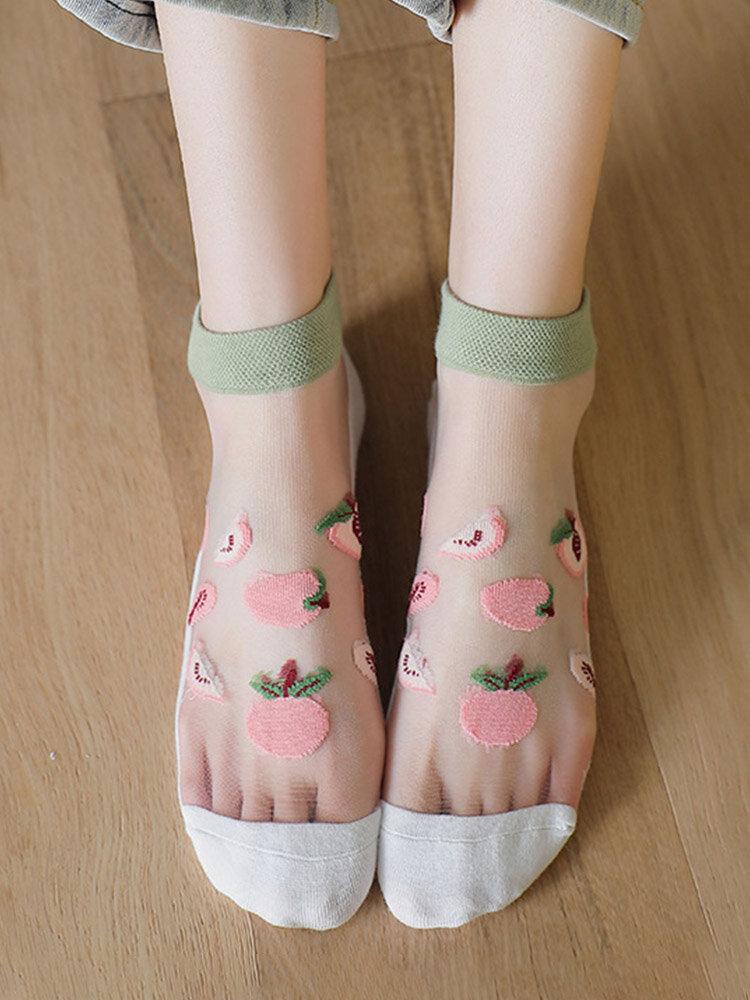 3 Pairs Women Cotton Glass Silk Peach Letters Stripes Pattern Jacquard Breathable Socks