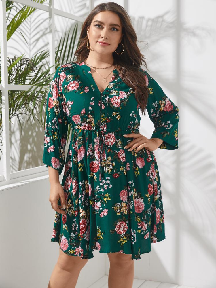 Floral Print V-neck 3/4 Length Sleeve Plus Size Dress for Women