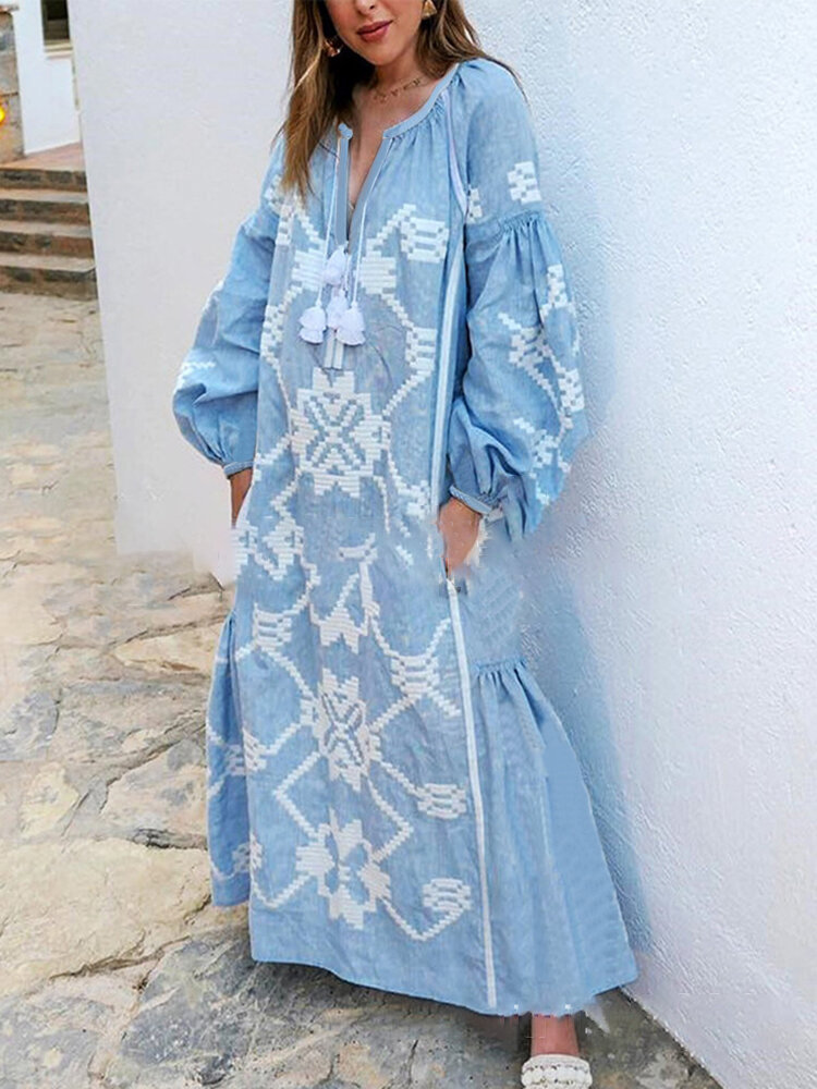 Bohemian Bishop Sleeve Printed Maxi Dress For Women
