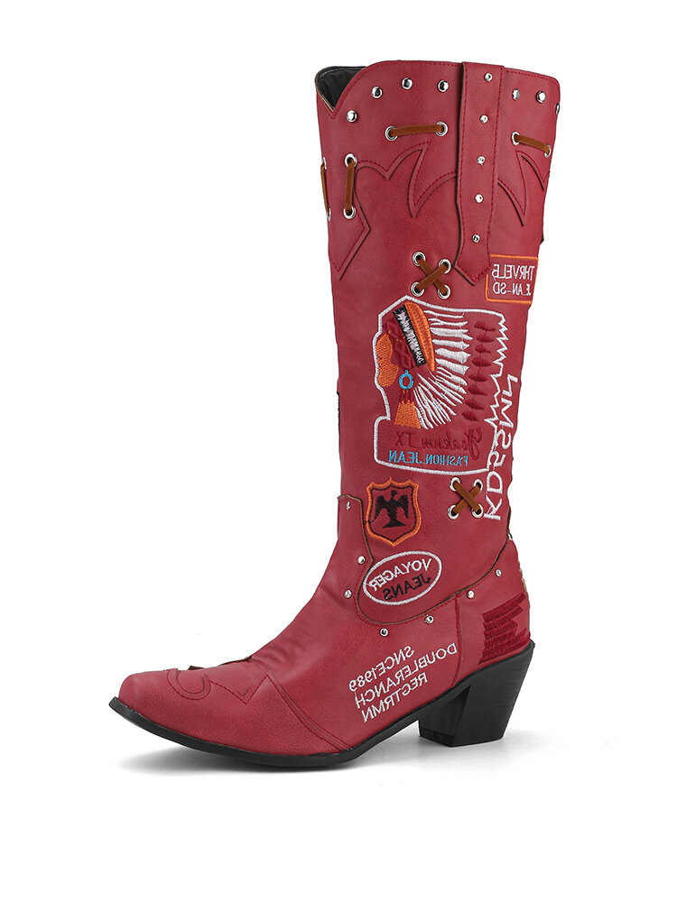 LOSTISY Women Casual Retro Embroidered Character Letter Pattern Mid-Calf Cowboy Boots