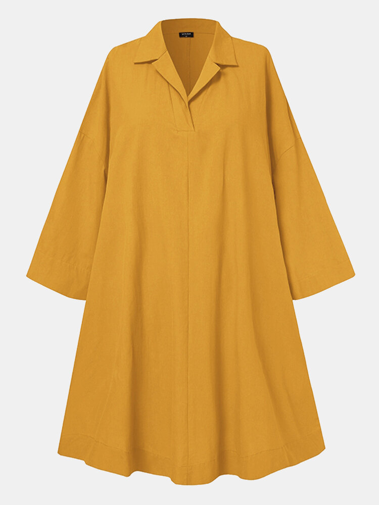 Solid Color Loose Lapel Long Sleeve Casual Dress For Women