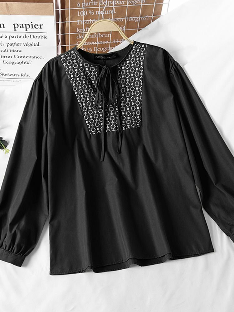 Floral Embroidery Knotted V-neck Long Sleeve Loose Blouse