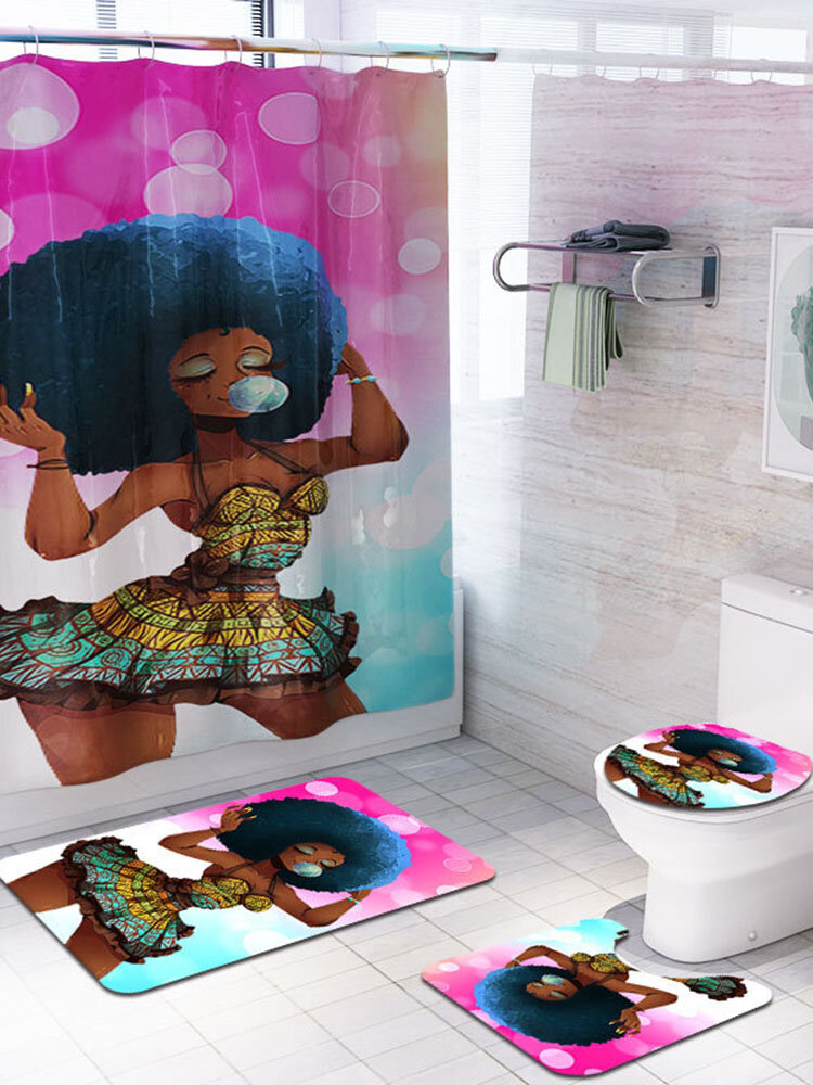 4 Pcs Set African Woman Colorful Printing Toilet Pad Cover Bath Mat Shower Curtain Set for Bathroom Decor