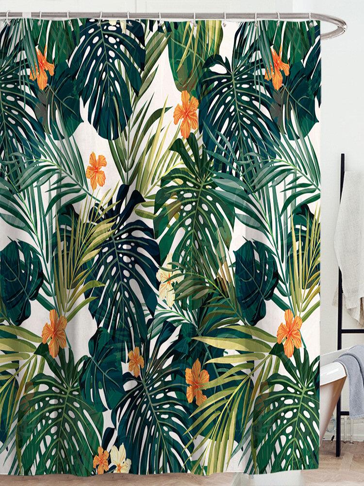 Retro Green Eucalyptus Watercolour Leaf Printing Botanical Border Botany Polyester Printing 71