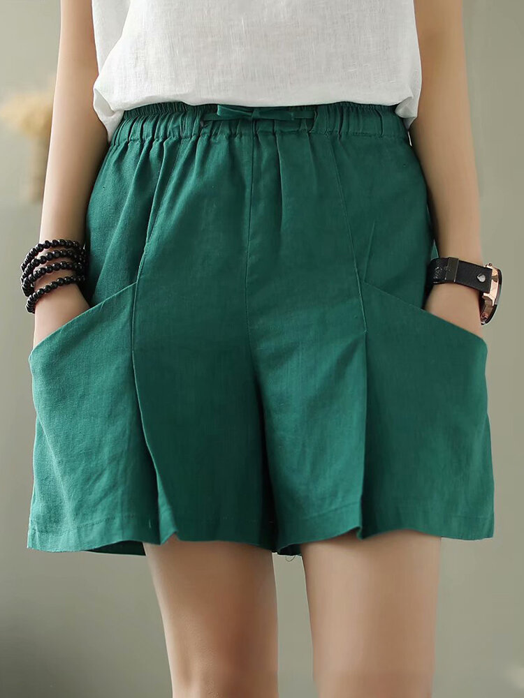 Elastic Waist Solid Color Wide Leg Casual Shorts For Women