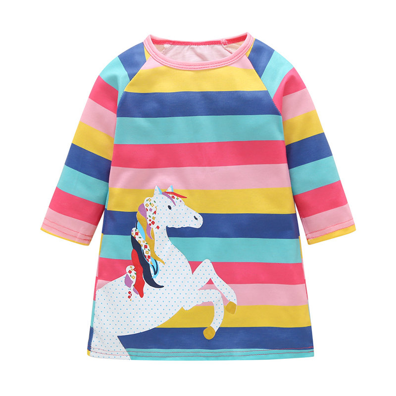 Horse Print Girls Long Sleeve Striped Dress For 2Y-11Y
