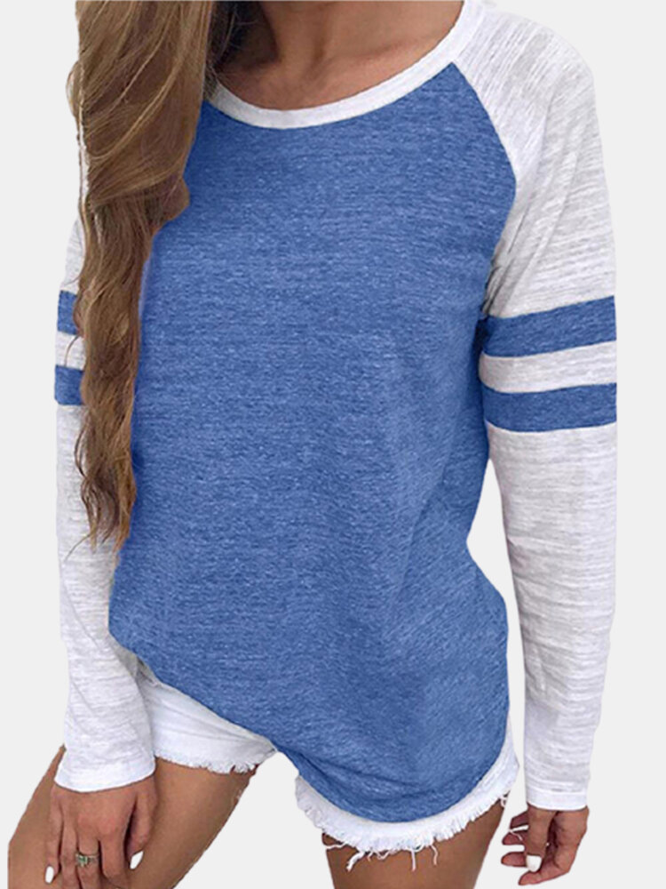 ストライプカジュアルパッチワークOネック長袖PlusサイズTシャツ
