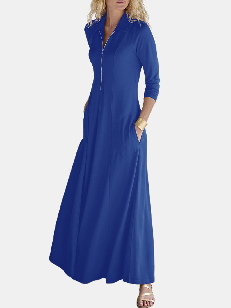 Solid Color Long Sleeves Lapel Collar Casual Zipper Dress For Women