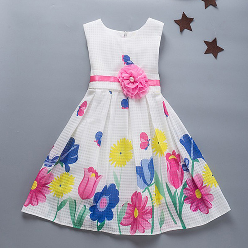 Flower Pattern Girls Kids Sleeveless Casual Party Princess Dresses For 4Y-15Y