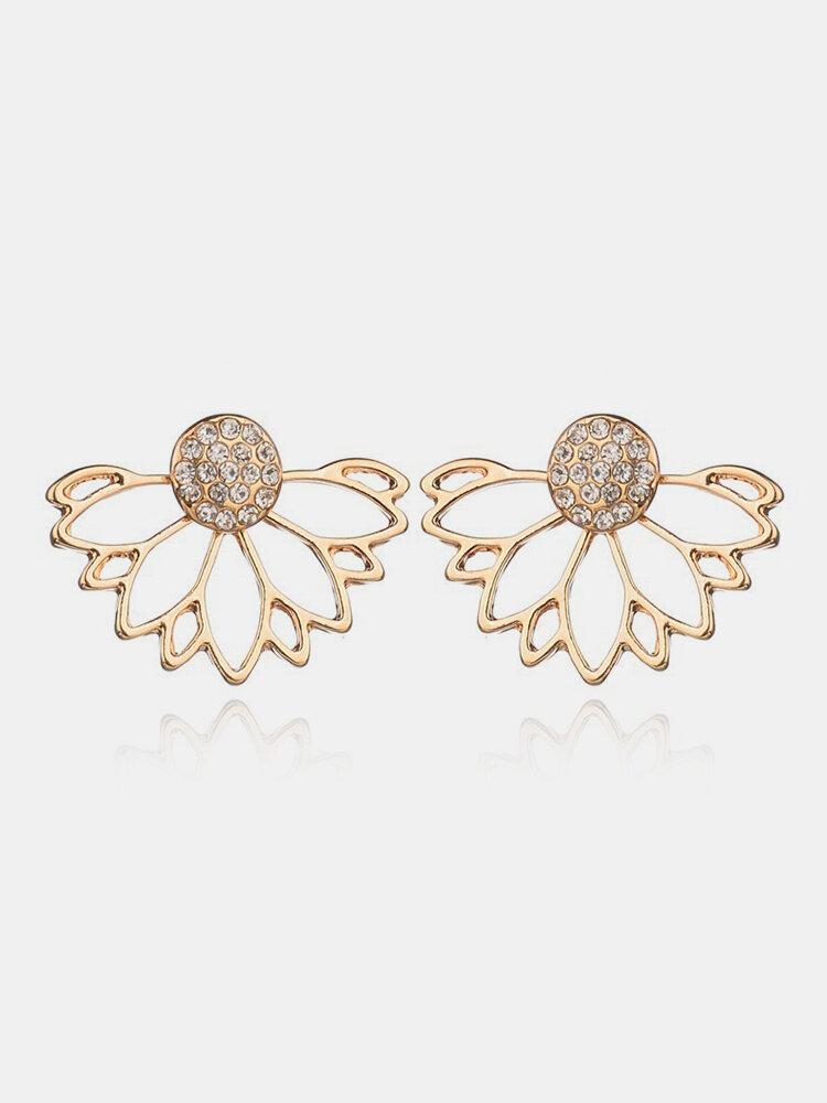 Elegant Lotus Earrings Fashion Diamond Earrings Gold Alloy Women Earrings