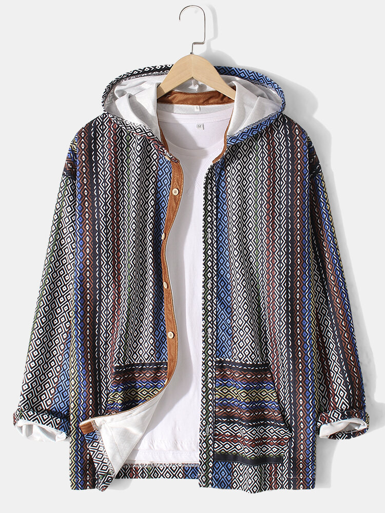 Mens Ethnic Style Print Button Up Casual Hooded Jacket With Pocket
