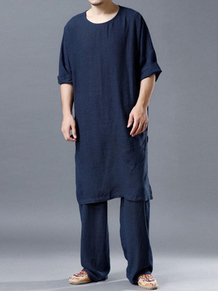 Conjunto Loungewear Loungewear Leve Liso Aconchegante Solto de Algodão Solto O Pescoço Respirável Home Co-ords para Homens