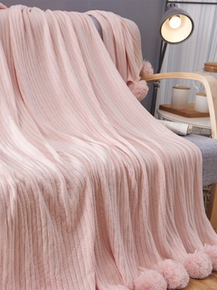 150x100cm Throw Blanket Textured Solid Soft Sofa Couch Decorative Knitted Blanket
