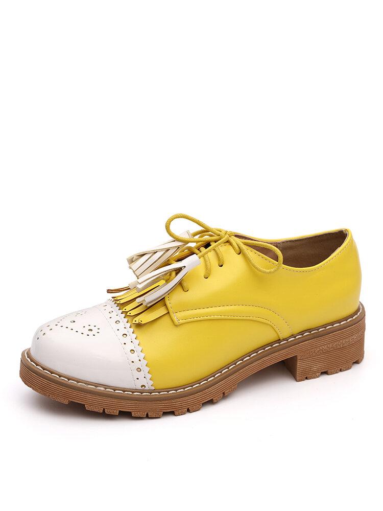 Женщины Tassel Decor Нескользящие повседневные женские туфли Creepers Brogue